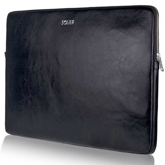 Skórzany pokrowiec etui na laptopa 15 cali Solier SA23A Czarny - Czarny 15 cali