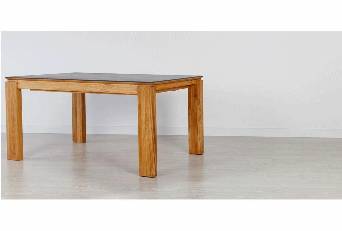Stół dębowy 22 rozsuwany / konglomerat kwarcowy DEKTON