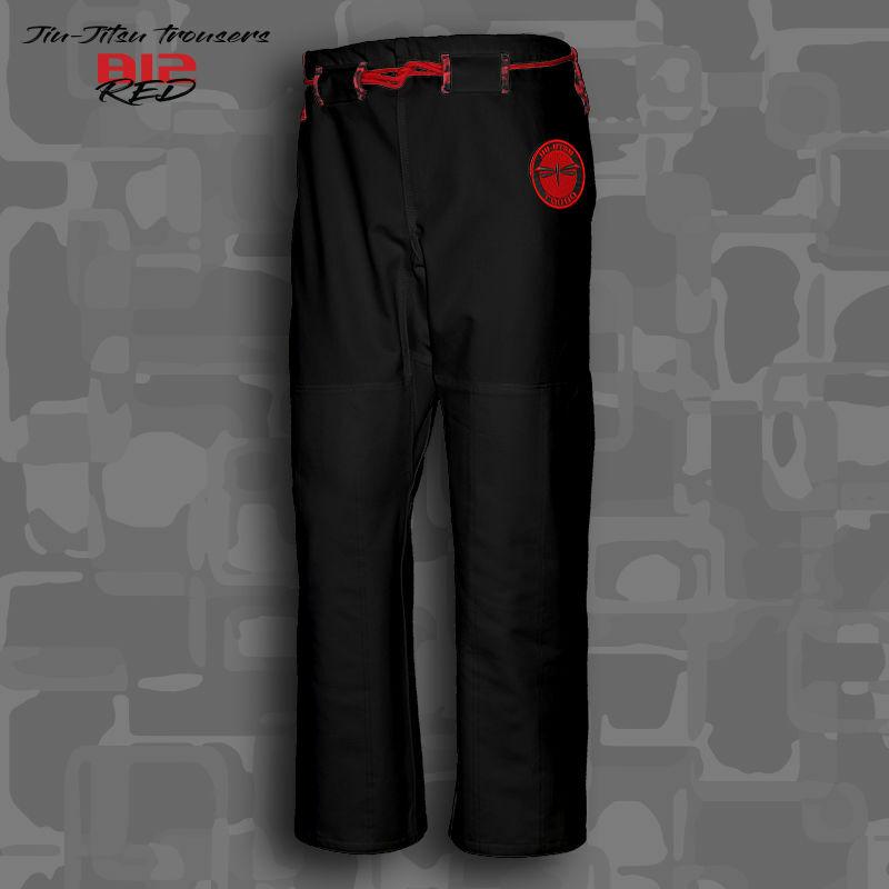 spodnie BJJ / Jiu-jitsu B12-RED RIPSTOP, czarne (27 rozmiarów)
