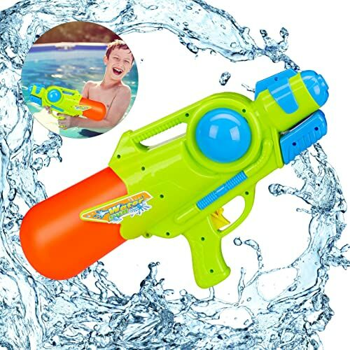 Relaxdays Pistolet na wodę, zbiornik na wodę 1 l, zasięg 5 m, do pompowania, dla dzieci i dorosłych, pistolet natryskowy, kolorowy