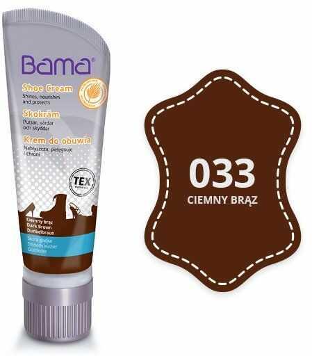 Krem do obuwia BAMA z woskiem Carnauba 033 Ciemny Brąz 75ml tubka - Brązowy