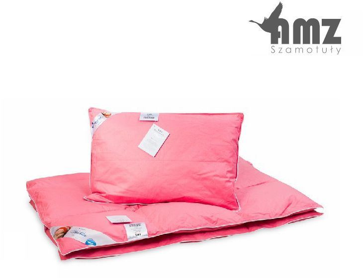 Poduszka i kołdra półpuchowa dziecięca AMZ Półpuch, Kolor - różowy, Rozmiar - 100x135 + 40x60 NAJLEPSZA CENA, DARMOWA DOSTAWA