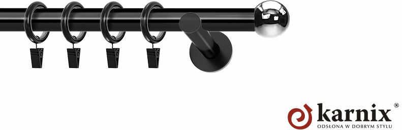 Karnisze nowoczesne NEO pojedynczy 19mm Kula czarny
