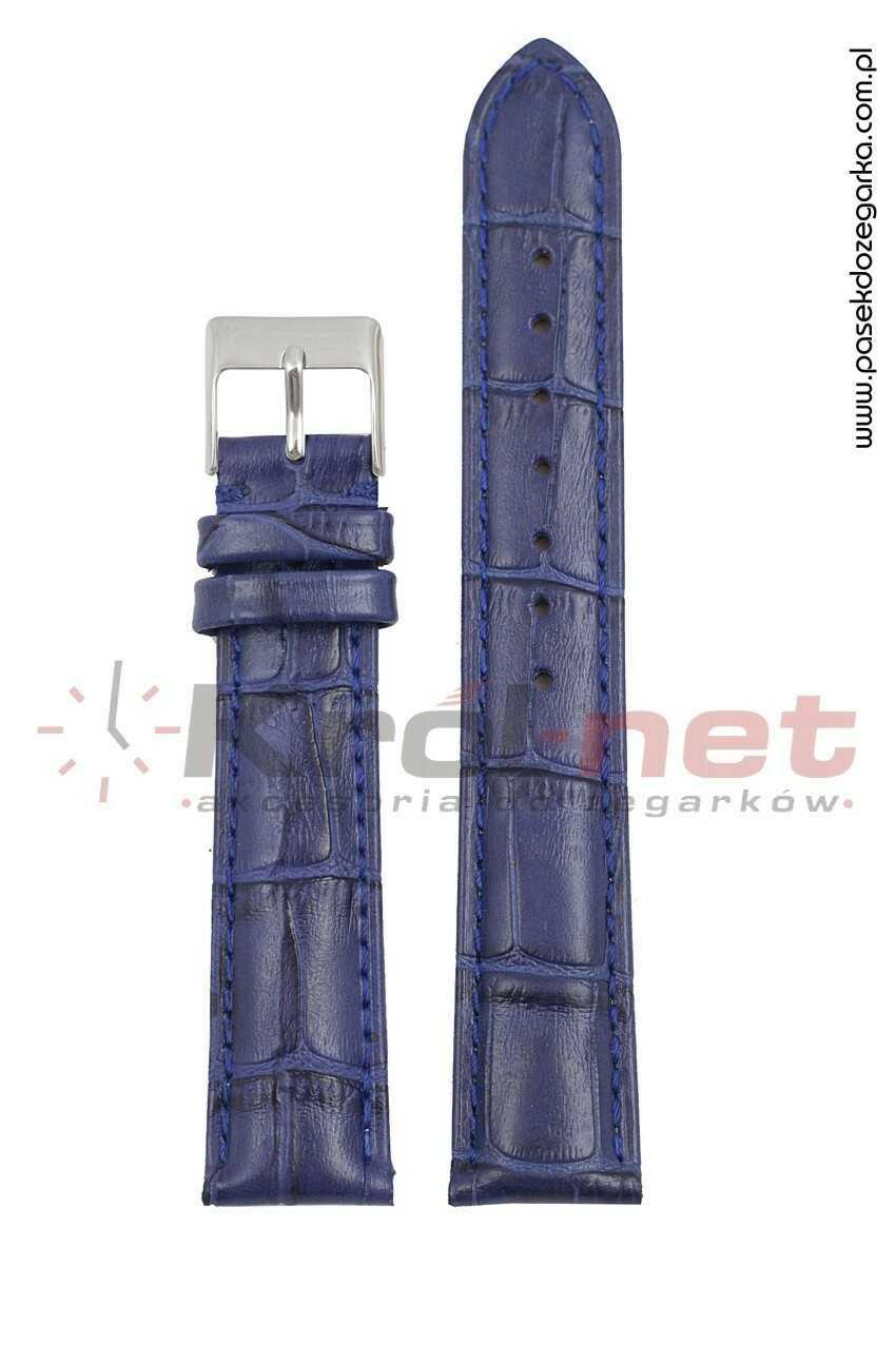 Pasek Tekla TK110GR/24 - granatowy, faktura krokodyla