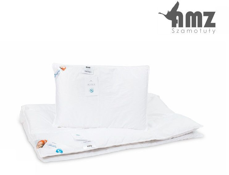 Poduszka i kołdra puchowa dziecięca AMZ Basic+, Kolor - biały, Rozmiar - 90x120 + 40x60 NAJLEPSZA CENA, DARMOWA DOSTAWA