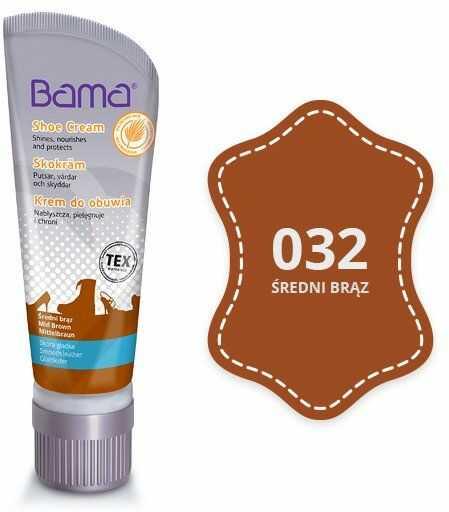 Krem do obuwia BAMA z woskiem Carnauba 032 Średni Brąz 75ml tubka - Brązowy