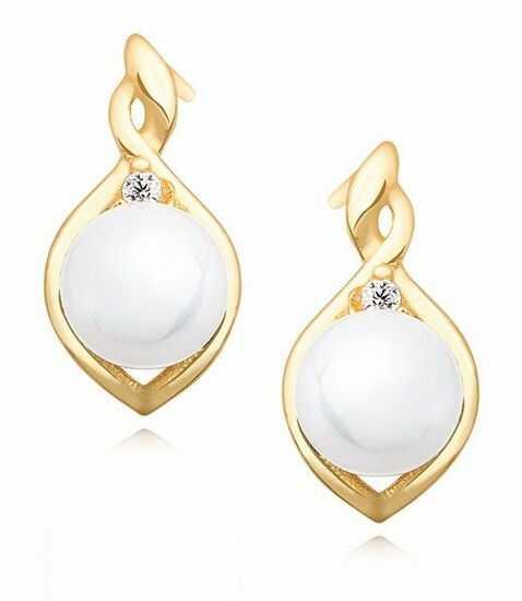 Delikatne pozłacane srebrne kolczyki perły perełki cyrkonie srebro 925 Z1094E