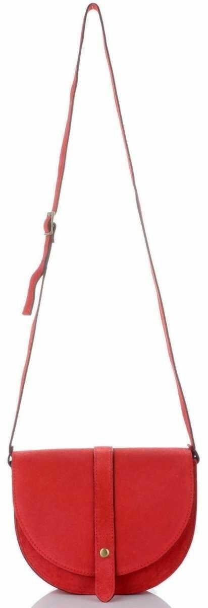 Włoskie Torebki Skórzane Listonoszki marki Vittoria Gotti wykonane w całości z wysokiej jakości Zamszu Naturalnego Czerwone (kolory)