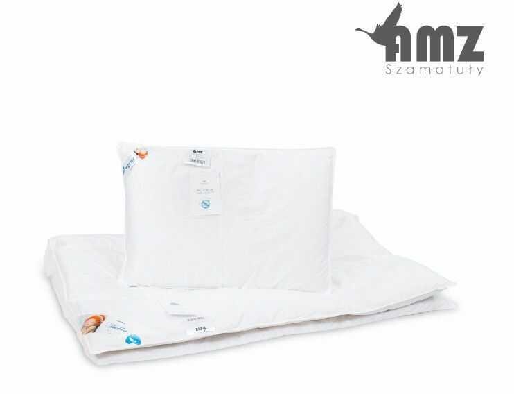 Poduszka i kołdra puchowa dziecięca AMZ Basic+, Kolor - biały, Rozmiar - 100x135 + 40x60 NAJLEPSZA CENA, DARMOWA DOSTAWA