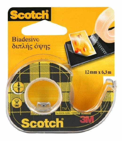 Taśma klejąca SCOTCH dwustronnie klejąca, przezroczysta, na podajniku, 12 mm X 6,3 m - X04286