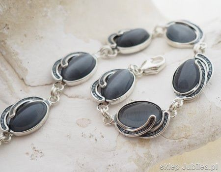 Baneza - srebrna bransoletka z kocim okiem