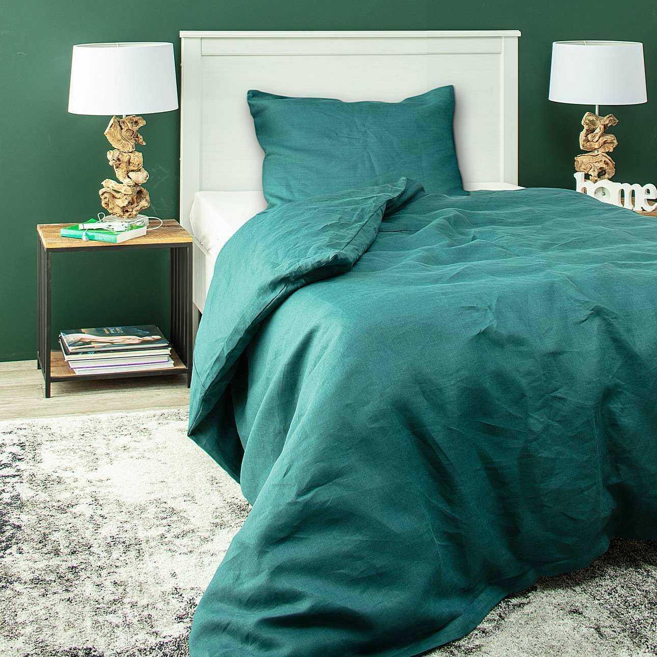 Komplet pościeli lnianej Linen 150x200cm emerald green