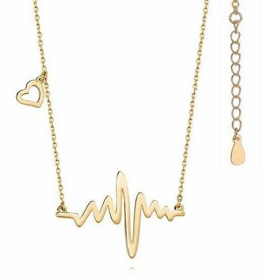 Elegancki pozłacany srebrny naszyjnik gwiazd celebrytka puls tętno serce srebro 925 Z1098N_G