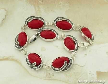 Zafara - srebrna bransoletka z koralem