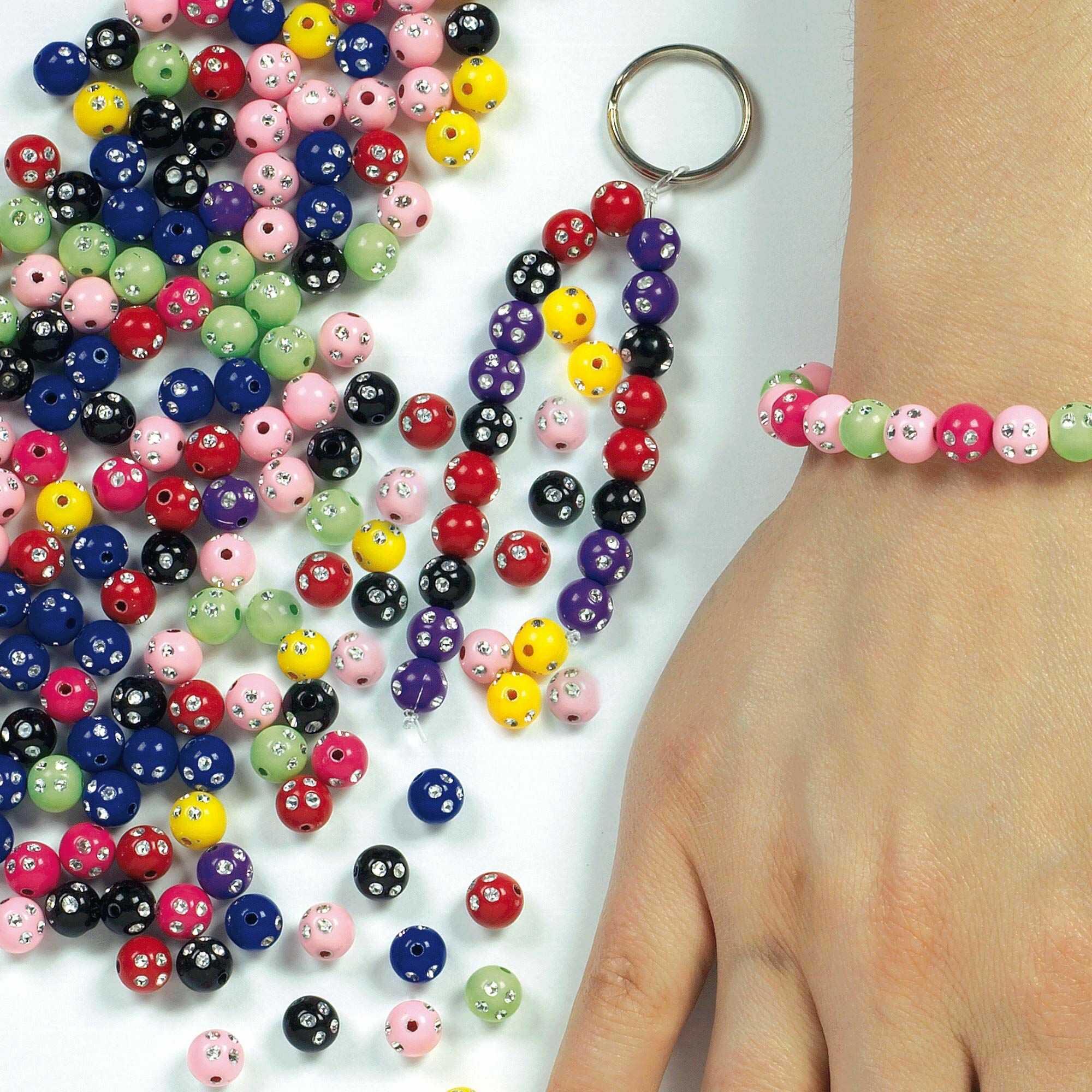 Baker Ross błyszczące perły  dla dzieci do tworzenia biżuterii  łańcuszki, bransoletki  250 sztuk