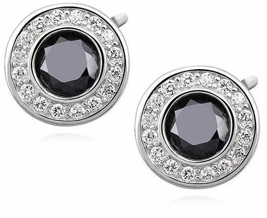 Eleganckie rodowane srebrne kolczyki czarne cyrkonie srebro 925 Z1084E_B