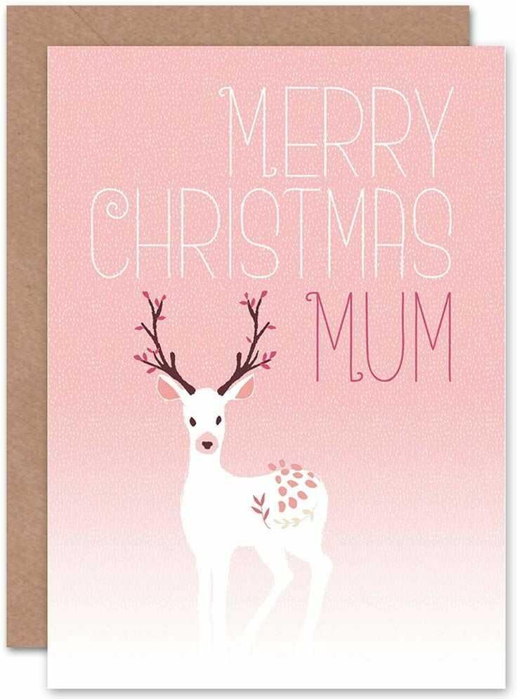 Wee Blue Coo Kartka świąteczna mama jeleń śnieg