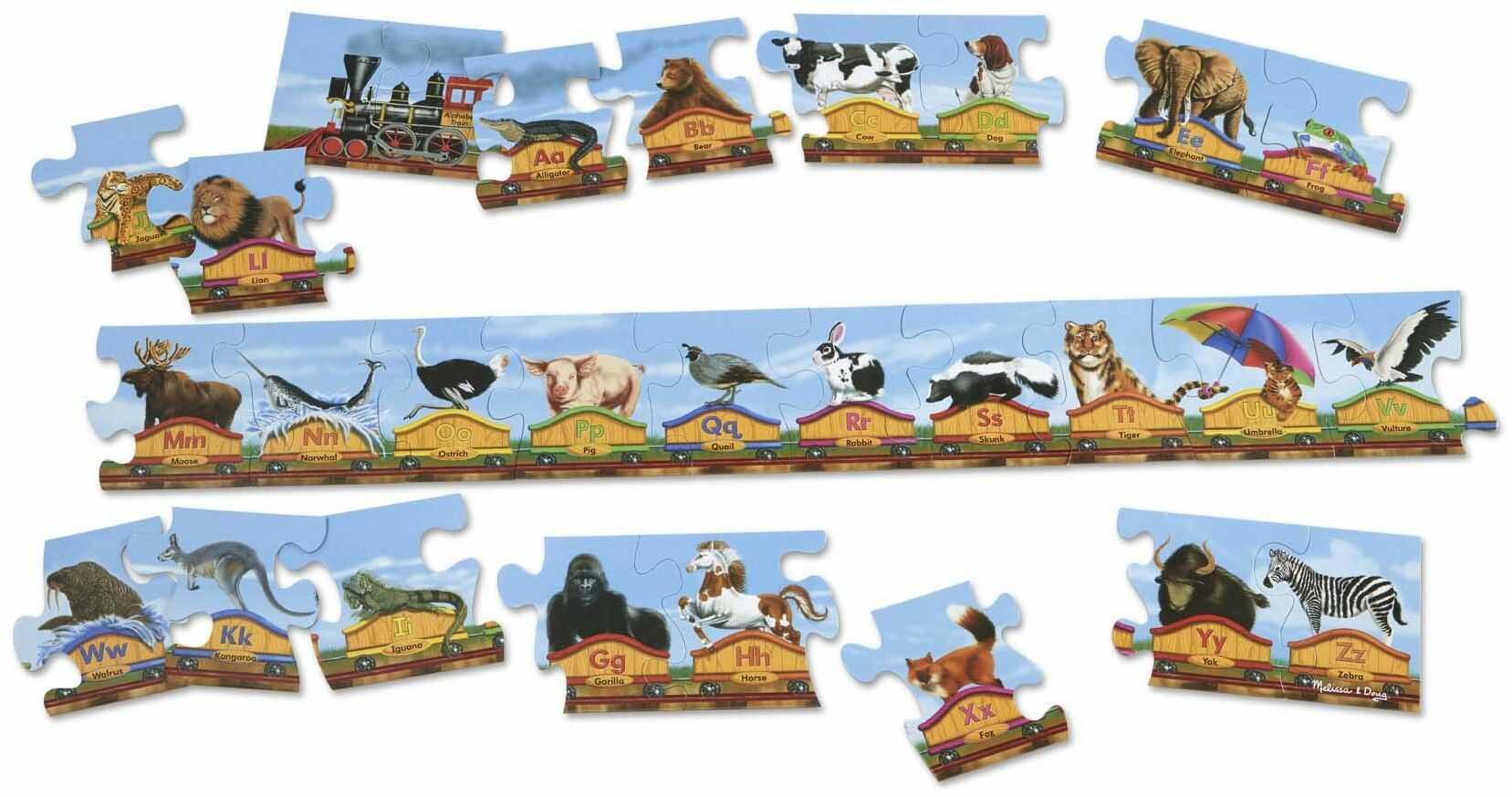 Melissa & Doug Alfabet pociąg Jumbo puzzle podłogowe - litery i zwierzęta (28 szt, 3 metry długości)