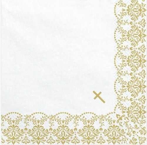 Serwetki na Chrzest, Komunię z ornamentem, złoty