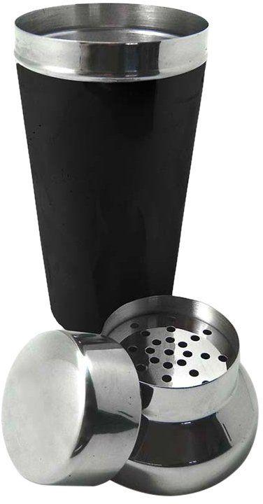 Vin Bouquet FIK 010 shaker koktajlowy 700 ml wykonany ze stali nierdzewnej i pokryty czarną gumą