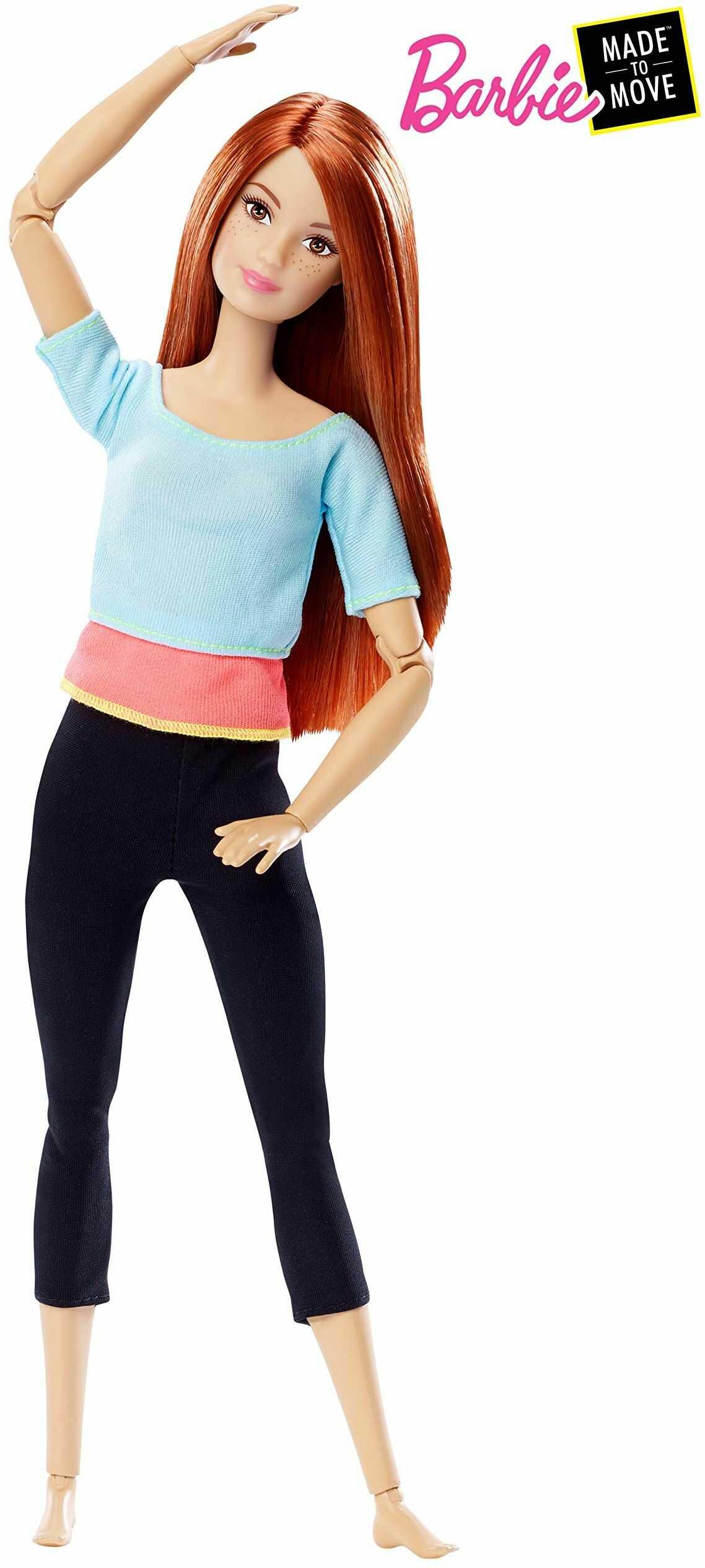 Barbie DPP74 Barbie Made to Move lalka z czerwonymi włosami, ruchoma i sportowa lalka modowa z 22 przegubami, od 3 lat