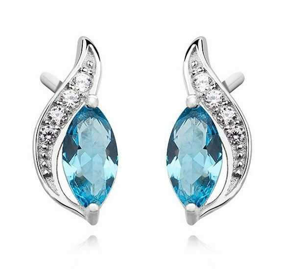 Eleganckie rodowane podłużne srebrne kolczyki akwamarynn błękitne cyrkonie srebro 925 Z1081E_AQ