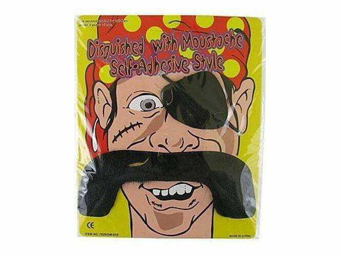 """Wąsy """"Pirackie"""" + opaska na oko - duże czarne - 1 szt."""