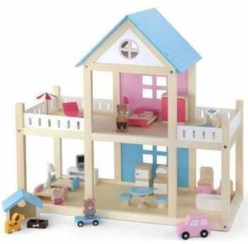 VIGA Drewniany domek dla lalek meble 4 figurki misie
