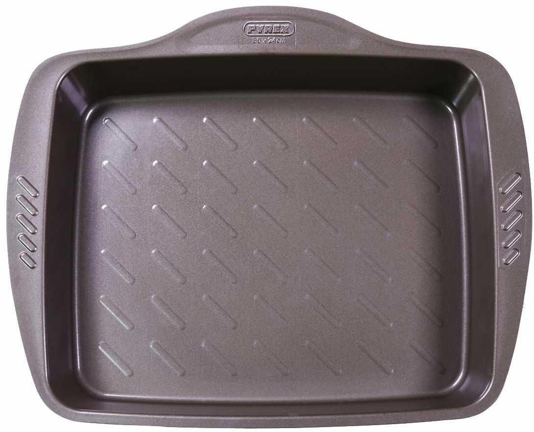 Pyrex Asimetria naczynie do zapiekania prostokątne stal czekoladowy brąz, aluminium, czekoladowy brąz, 30 x 24 cm