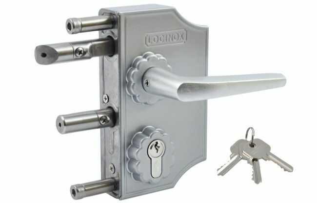 Zamek ozdobny Locinox LAKQ do furtek na profil 40 mm, kolor aluminium, klamka prosta srebrna