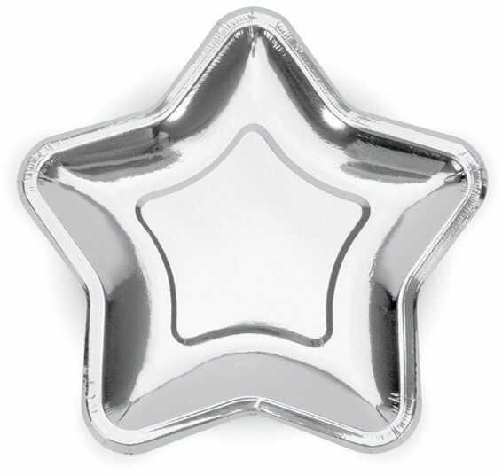 Talerzyki papierowe Gwiazdka srebrne metalizowane 23cm 6 sztuk TPP34-018