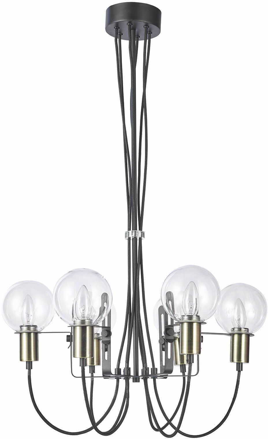 Italux Gianni MD16096-6B lampa wisząca nowoczesna klosze szkło przeźroczyste E14 6x40W 61cm IP20