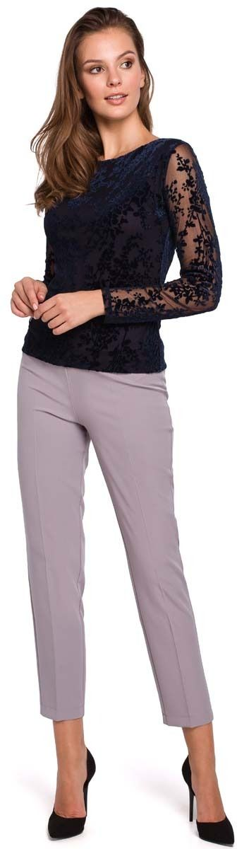 Elegancka granatowa bluzka z aksamitnej koronki