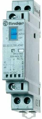 Stycznik modułowy 2 polowy Auto-On-Off+ LED, 1NC+1NO 25A 12V AC/DC, 22.32.0.012.4540