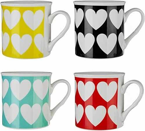 Premier Housewares, Zestaw 4 kubków graficznych w kształcie serca duże kubki do gorących napojów porcelana kostna zestaw filiżanek do herbaty kubki do herbaty wys. 9 x szer. 12 x gł. 9 cm