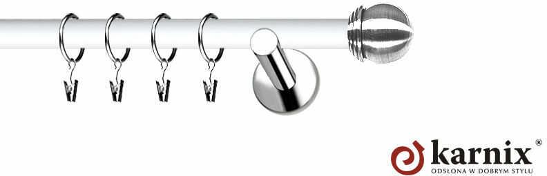 Karnisze Nowoczesne NEO Prestige pojedynczy 19mm Gałka Max INOX - biały