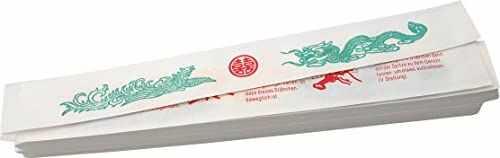 JADE TEMPLE papierowe etui na pałeczki do jedzenia, białe, 26,5 cm, z azjatyckim motywem smoka, 200 sztuk w opakowaniu ekonomicznym