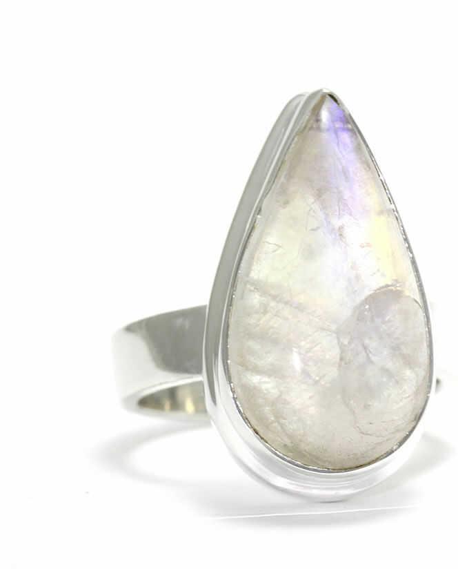 Kuźnia Srebra - Pierścionek srebrny, rozm. 11, Kamień Księżycowy, 7g, model