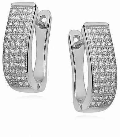 Eleganckie rodowane srebrne kolczyki z cyrkoniami srebro 925 Z0974