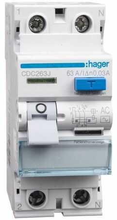 Wyłącznik różnicowoprądowy 2P 63A 0,03A typ AC CDC263J