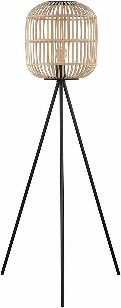 EGLO Bordesley, lampa stojąca w stylu vintage, naturalny, boho, hygge, lampa stojąca ze stali w kolorze czarnym i drewna w kolorze naturalnym, lampa do salonu, lampa z włącznikiem nożnym, oprawa E27