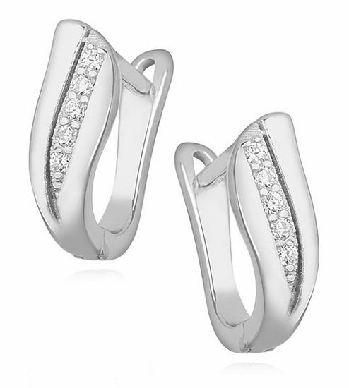 Eleganckie klasyczne rodowane srebrne kolczyki z cyrkoniami srebro 925 Z1139