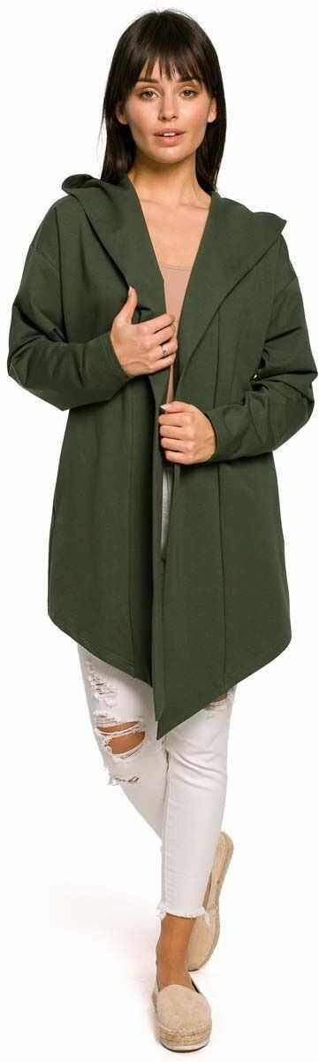 Narzutka z kapturem asymetryczna dzianinowa - zielona
