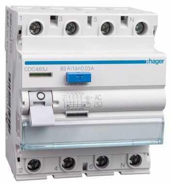 Wyłącznik różnicowoprądowy 4P 63A 0,03A typ AC CDC463J