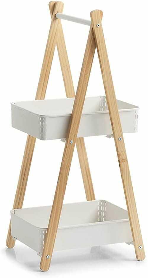 Zeller regał stojący z 2 koszami, metal/drewno, biały, ok. 34,5 x 38,5 x 86 cm