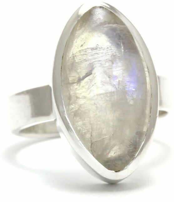 Kuźnia Srebra - Pierścionek srebrny, rozm. 14, Kamień Księżycowy, 7g, model