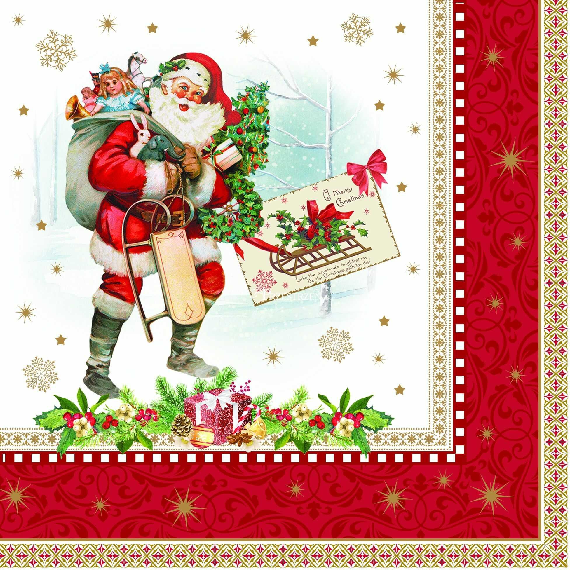 SERWETKI PAPIEROWE Święty Mikołaj z workiem prezentów