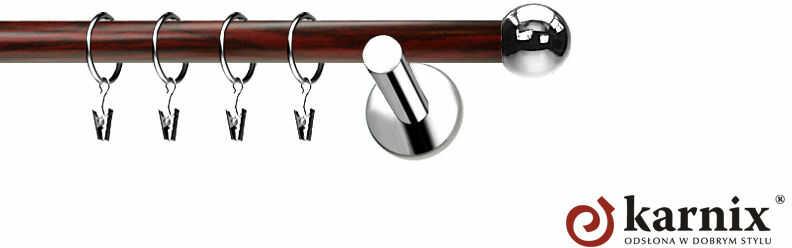 Karnisze Nowoczesne NEO Prestige pojedynczy 19mm Kula INOX - mahoń