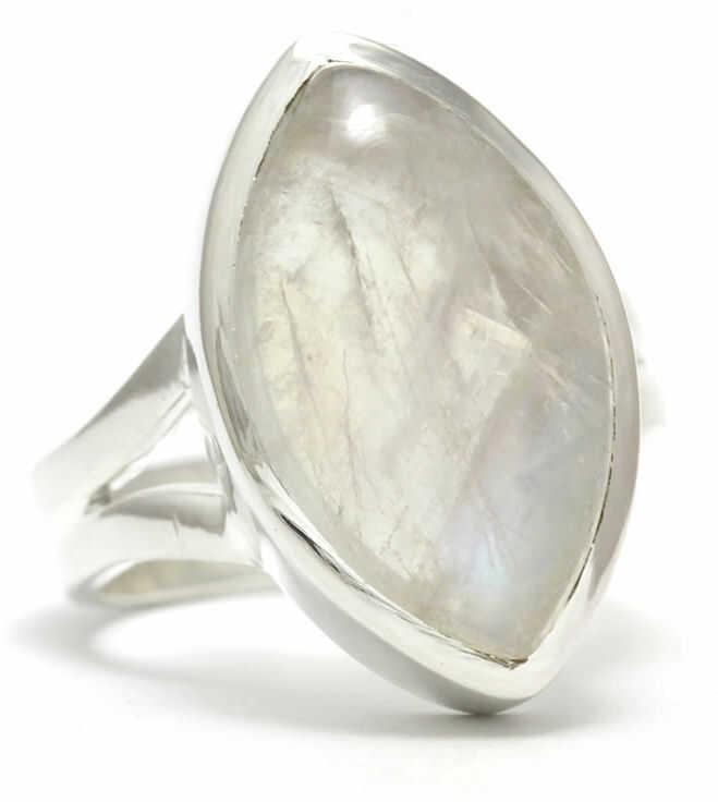 Kuźnia Srebra - Pierścionek srebrny, rozm. 11, Kamień Księżycowy, 6g, model