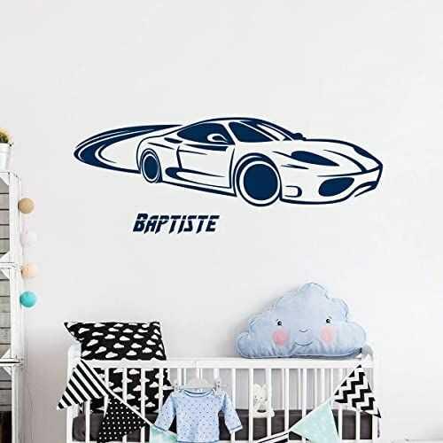 Spersonalizowana naklejka z imieniem, samoprzylepna, możliwość personalizacji, do pokoju dziecięcego, 2 arkusze o wymiarach 30 x 95 cm i 50 x 30 cm, ciemnoniebieska